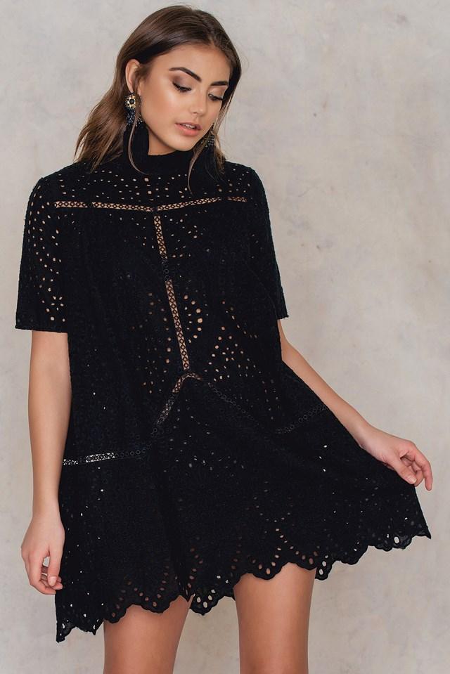 Crochet High Neck Dress Black