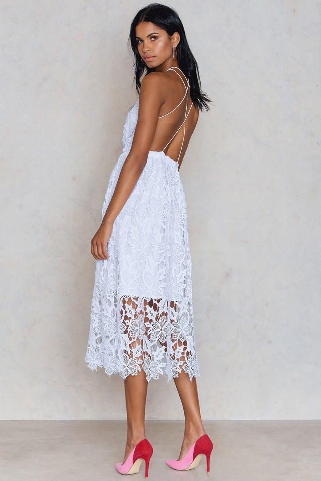 Sukienka z ażurową koronką White