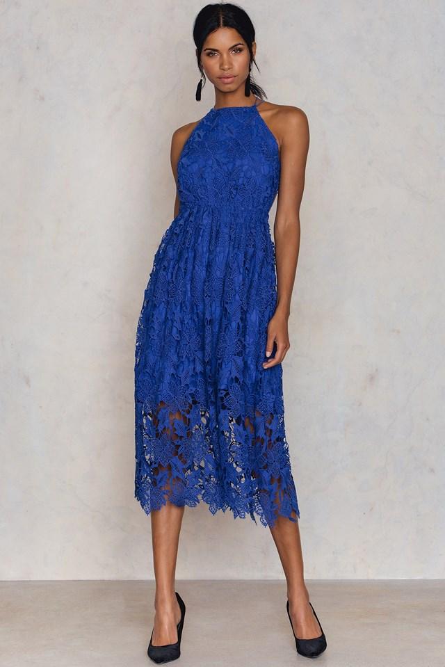 Crochet Strap Back Dress Cobalt