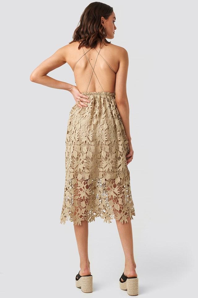 Crochet Strap Back Dress Beige