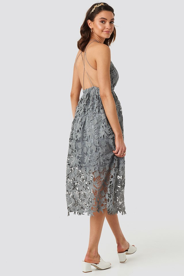 Crochet Strap Back Dress Dusty Blue Grey