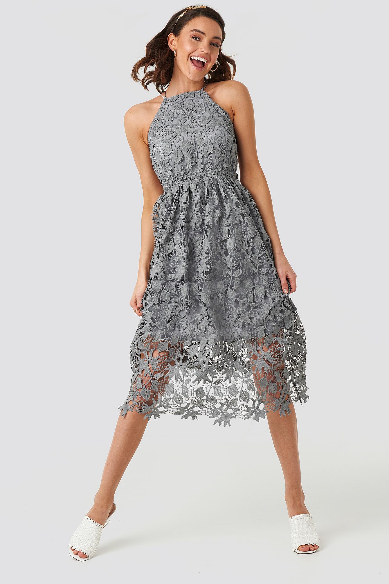Open Back Tied Midi Dress Beige | na-kd.com