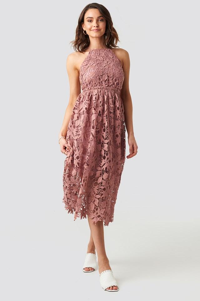 Crochet Strap Back Dress Dusty Dark Pink