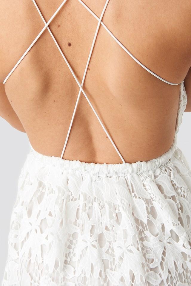 Crochet Strap Back Dress White