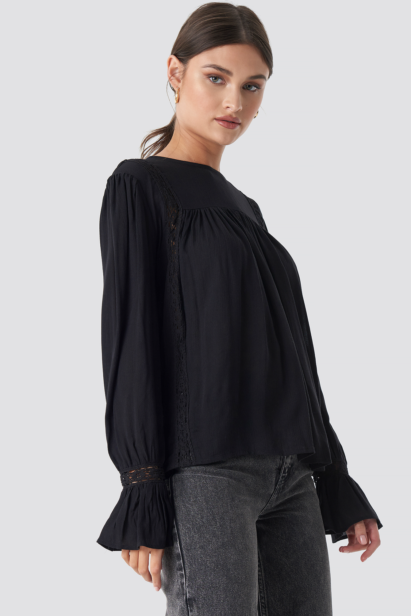 Crochet Detail Flowy Cotton Top NA-KD.COM