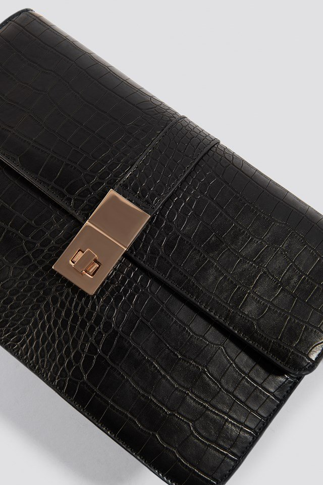 Croco Briefcase Bag Black