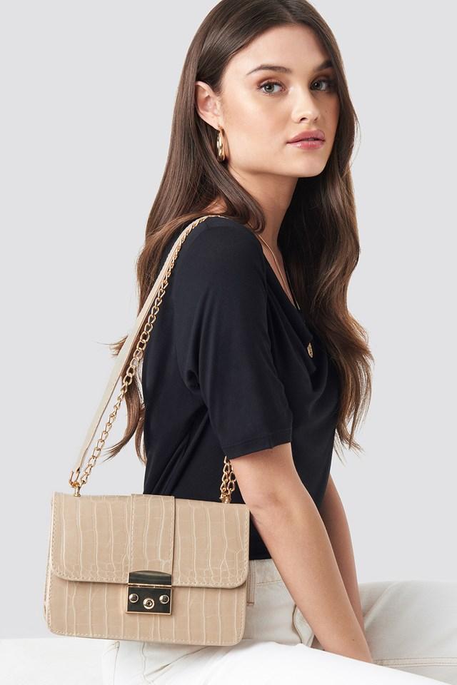 Croco Detailed Shoulder Bag Beige