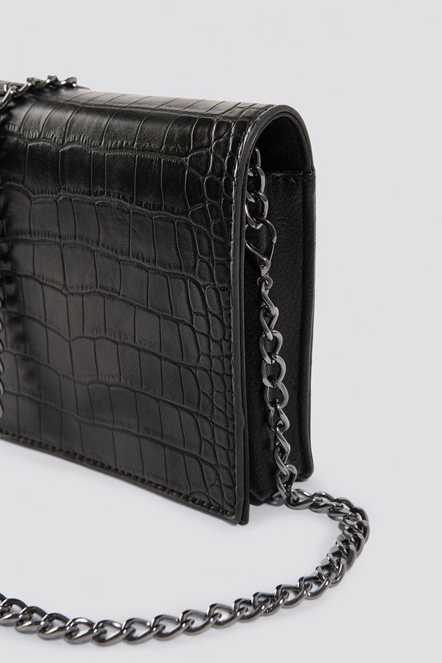Croco Mini Messenger Bag Black