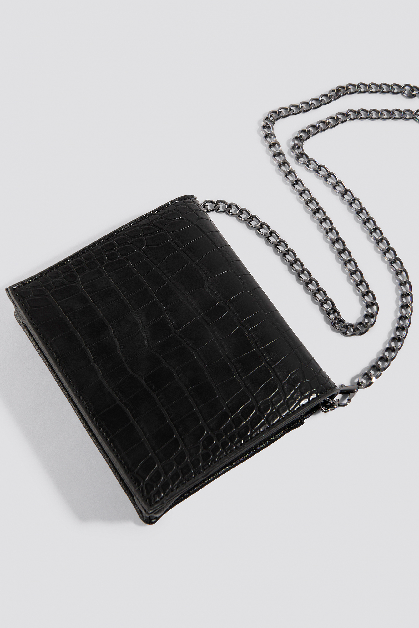 Black Croco Mini Messenger Bag