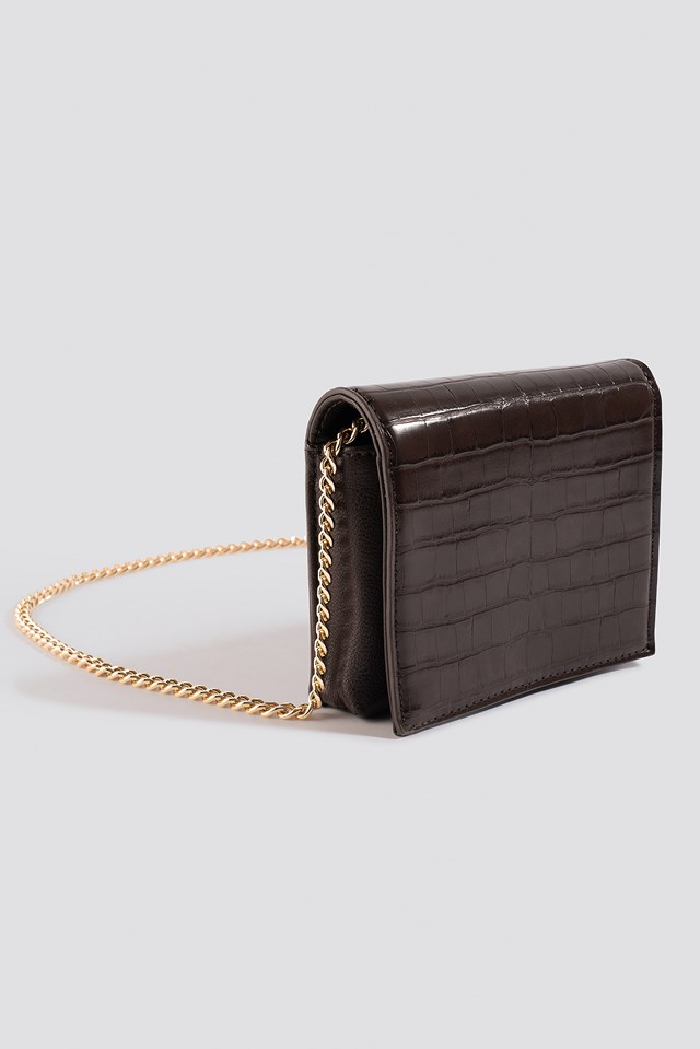 Croco Mini Messenger Bag Brown