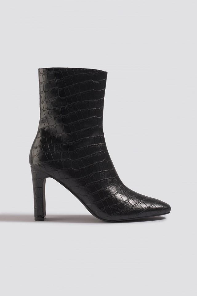 Croco Slim Heel Boots Black