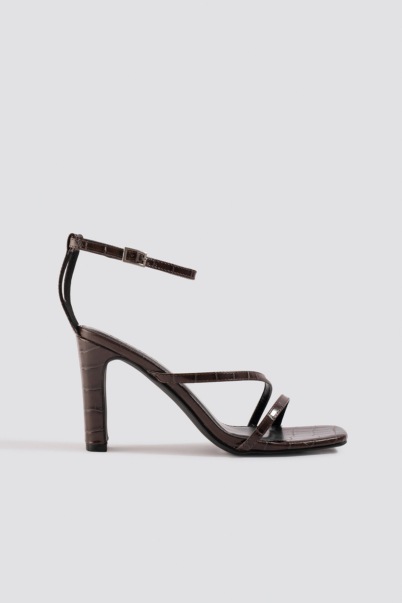 na-kd shoes -  Croco Strappy Flat Heel Sandals - Brown