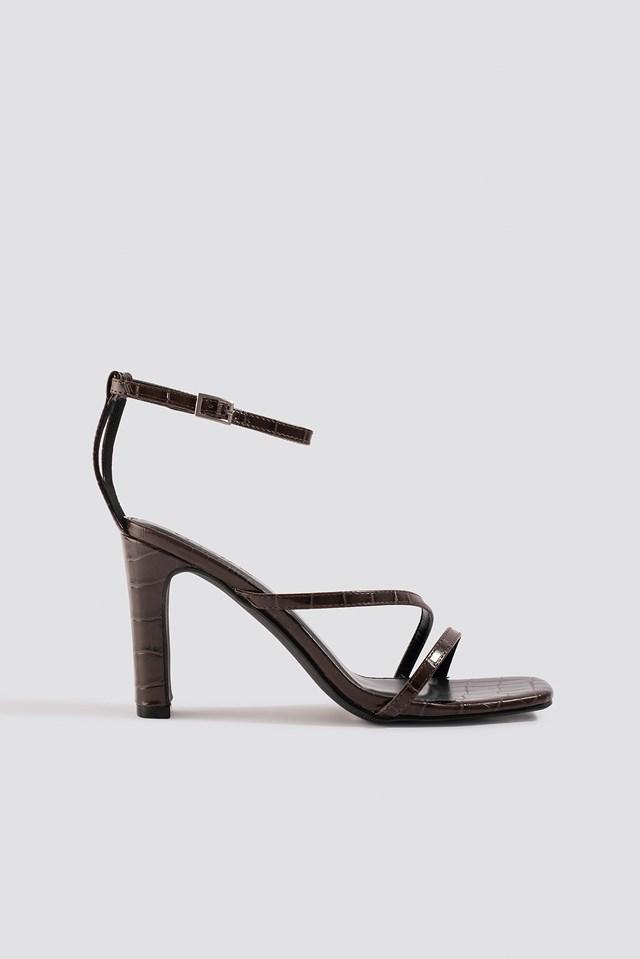 Croco Strappy Flat Heel Sandals Brown