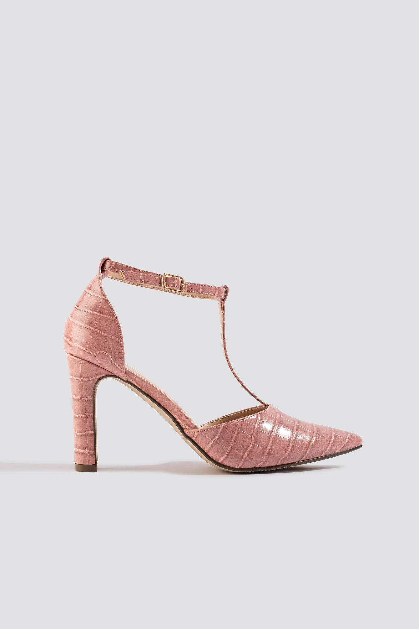 na-kd shoes -  Croco T Bar Pumps - Pink