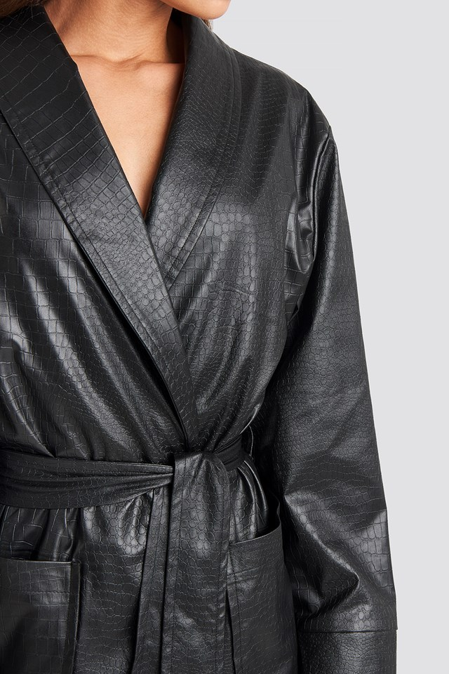 Faux Crocodile Belted Lightweight Jacket Black