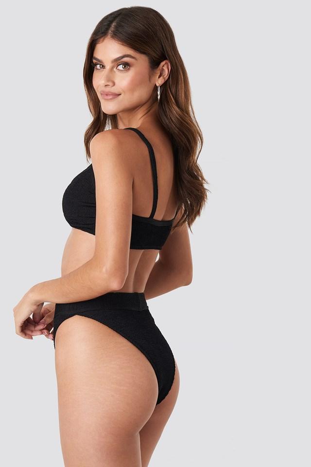 Crop Smocked Bikini Top Black