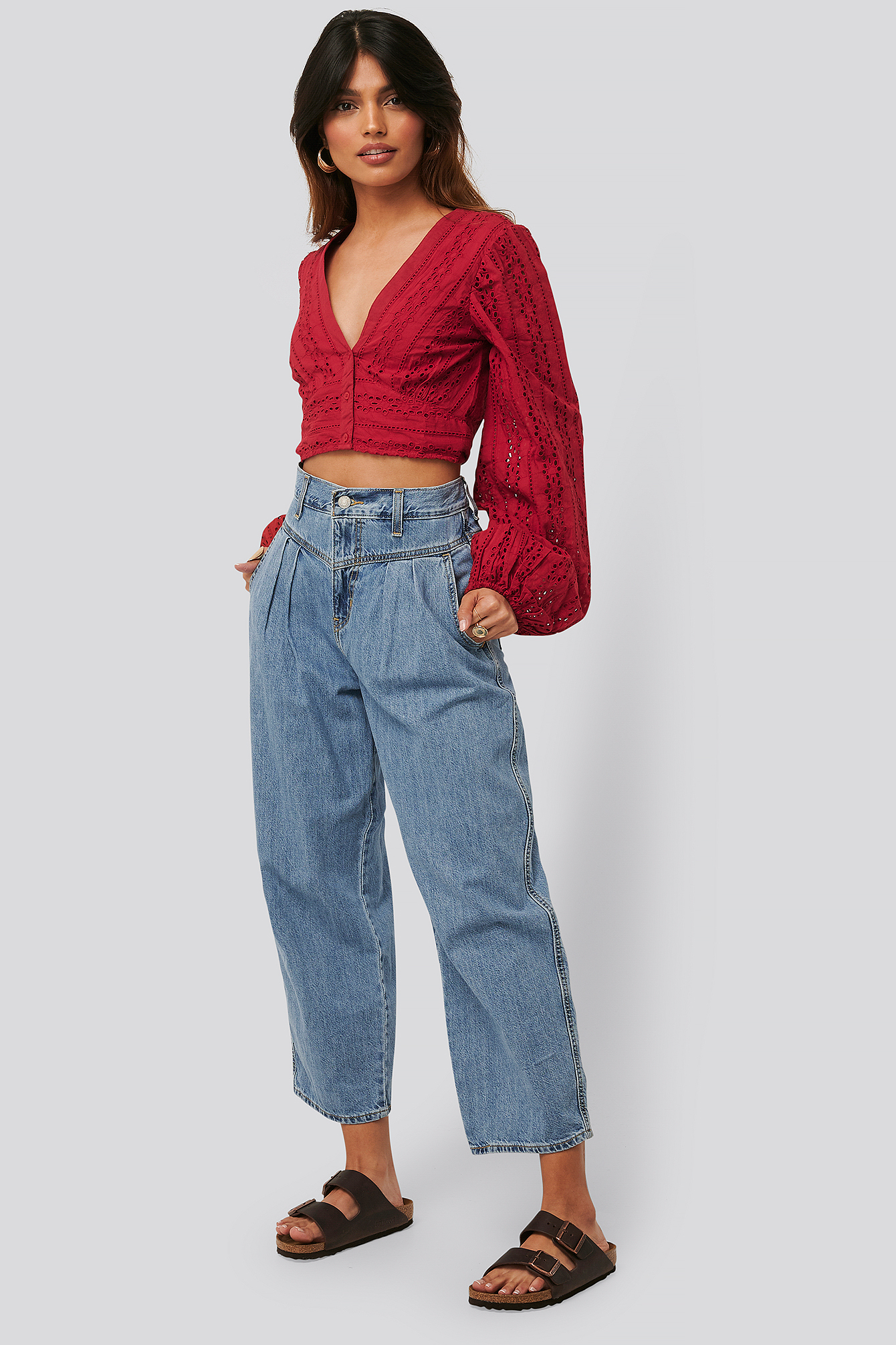 Dark Red Cropped Anglaise Balloon Sleeve Top