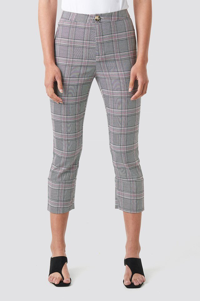 Cropped Back Slit Detail Pants Grey Check