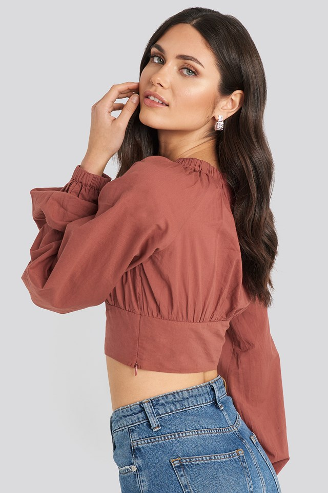 Cropped Balloon Sleeve Cotton Blouse Rust