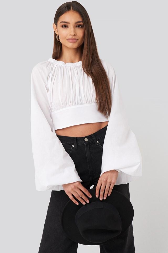 Cropped Balloon Sleeve Cotton Blouse White