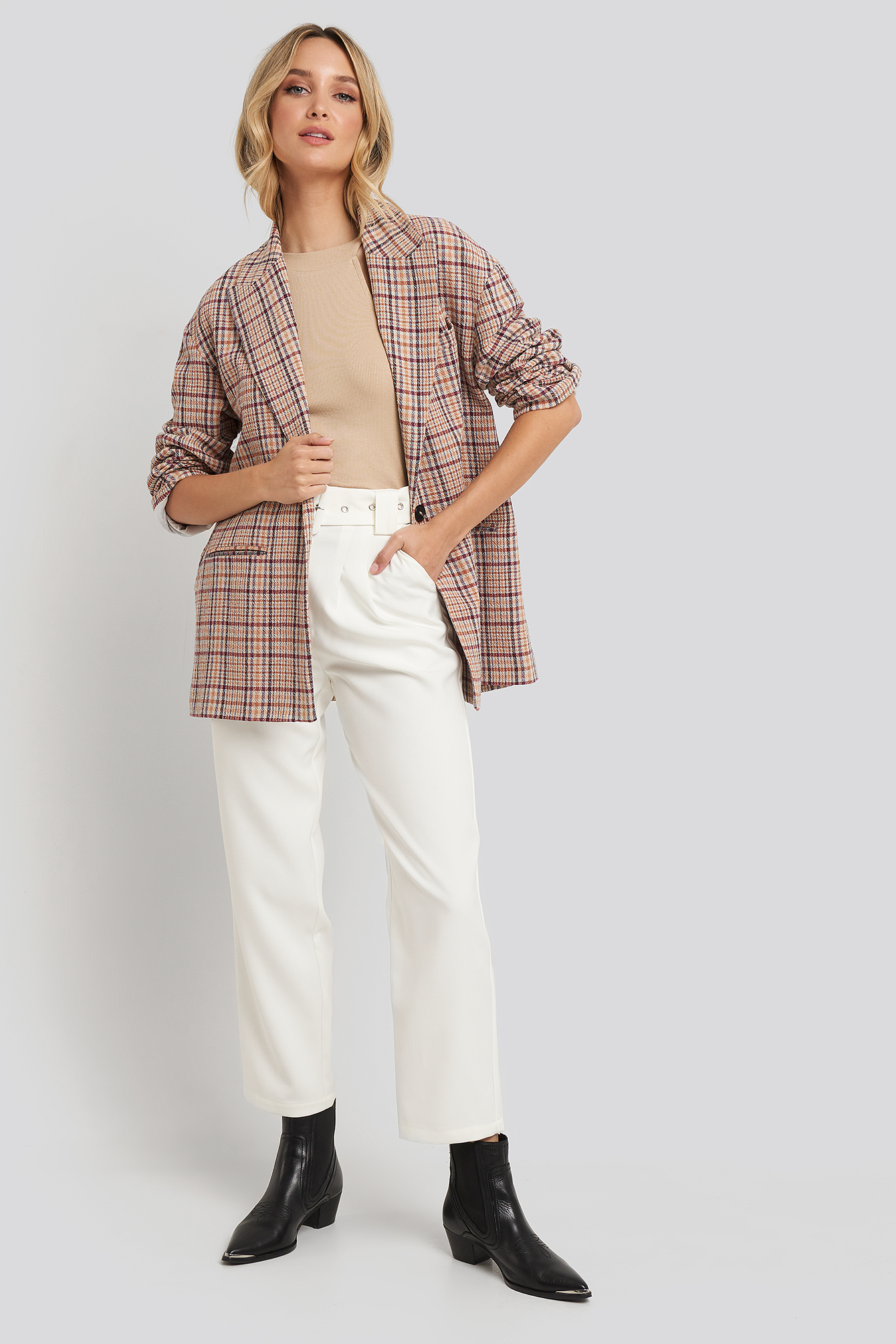 na-kd trend -  Cropped Belted Pants - White