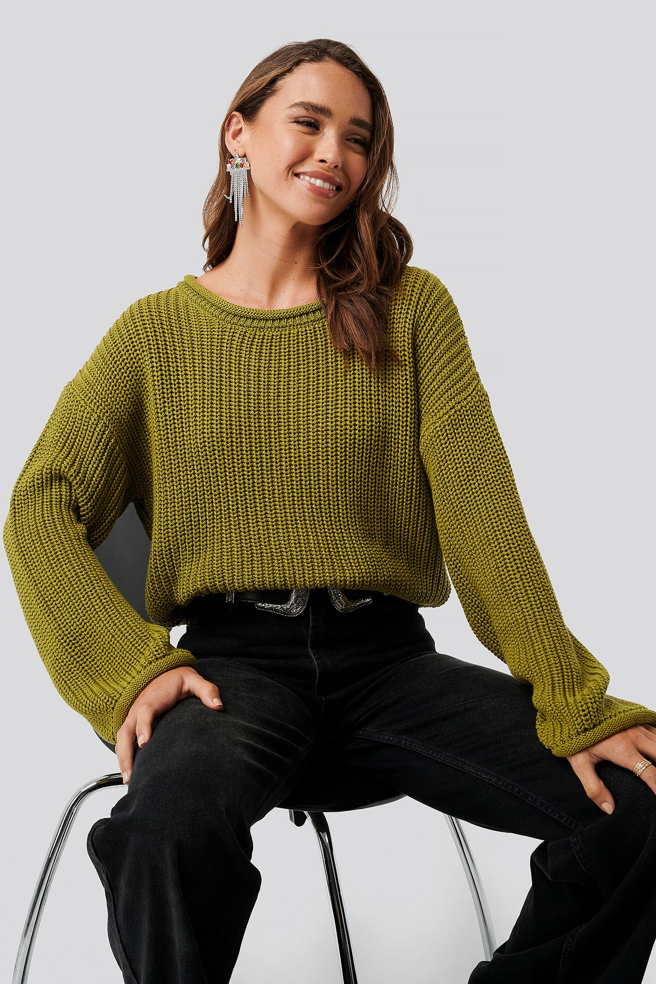 na-kd -  Cropped Boat Neck Knitted Sweater - Green