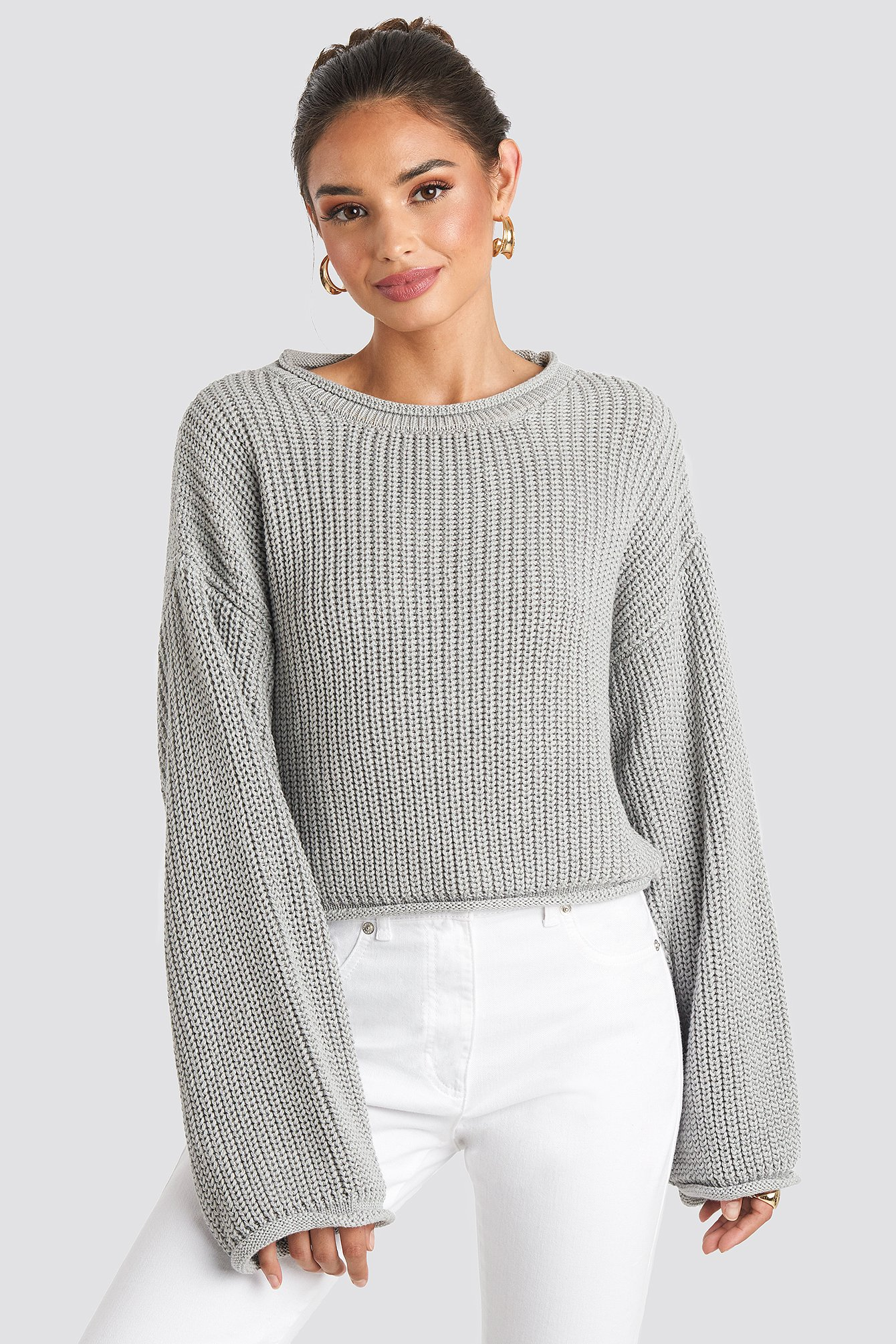 Cropped Boat Neck Knitted Sweater Grey by Na Kd