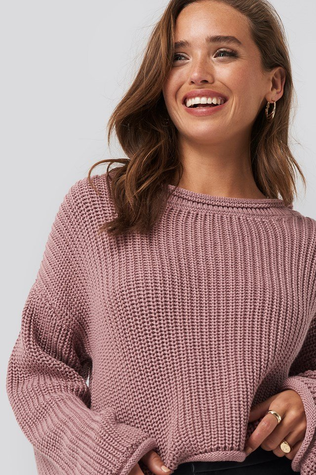 Cropped Boat Neck Knitted Sweater Dusty Pink