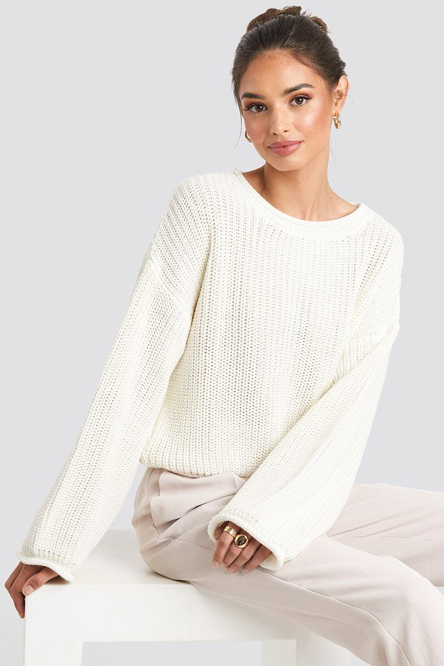 Cropped Boat Neck Knitted Sweater Offwhite