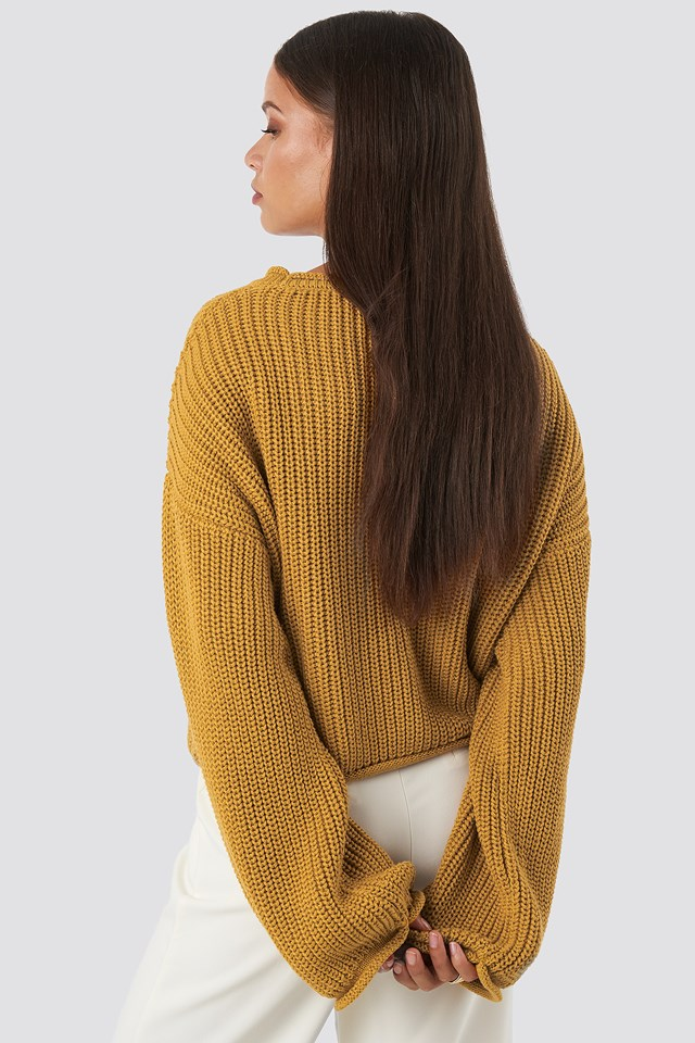 Cropped Boat Neck Knitted Sweater Mustard
