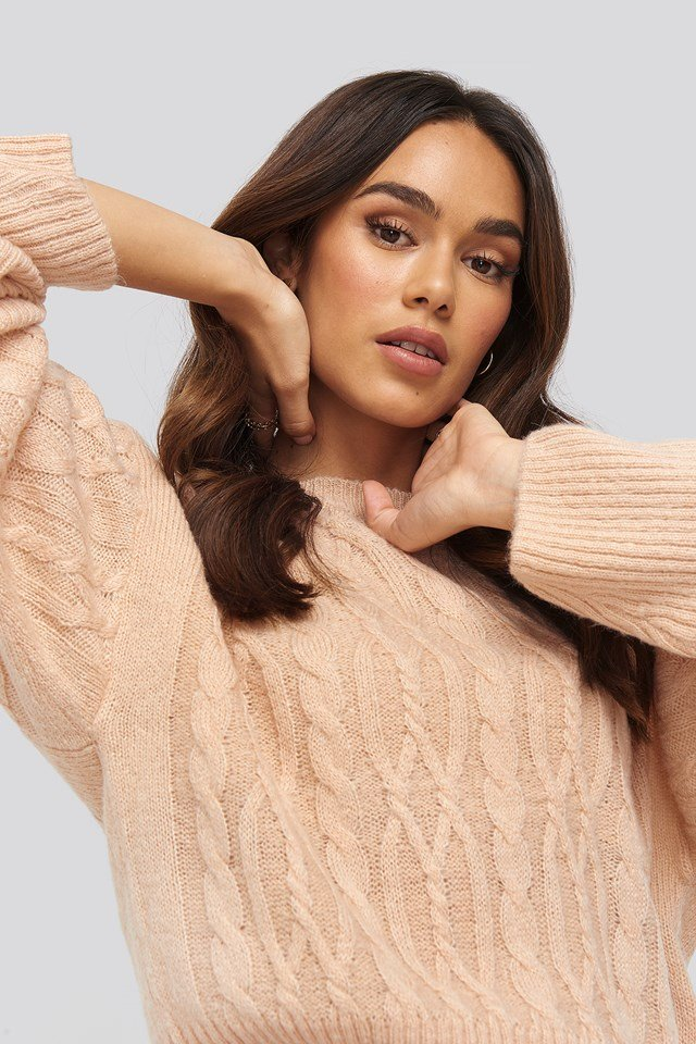 Cropped Cable Knitted Sweater Dusty Light Pink
