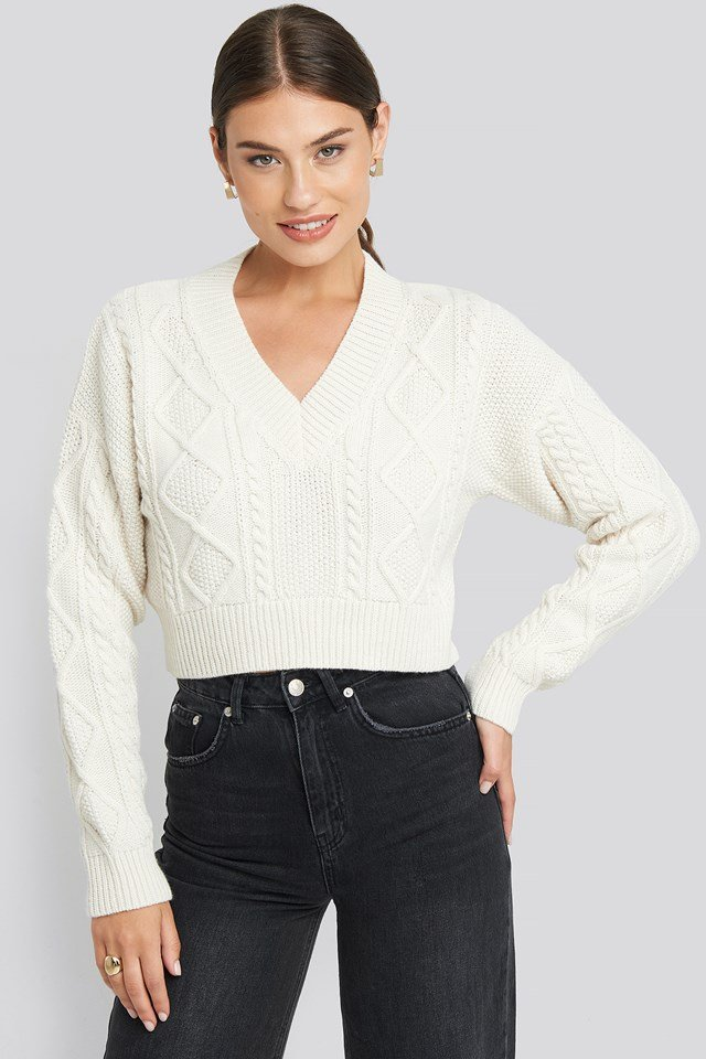 Cropped Cable Open Back Sweater Off White
