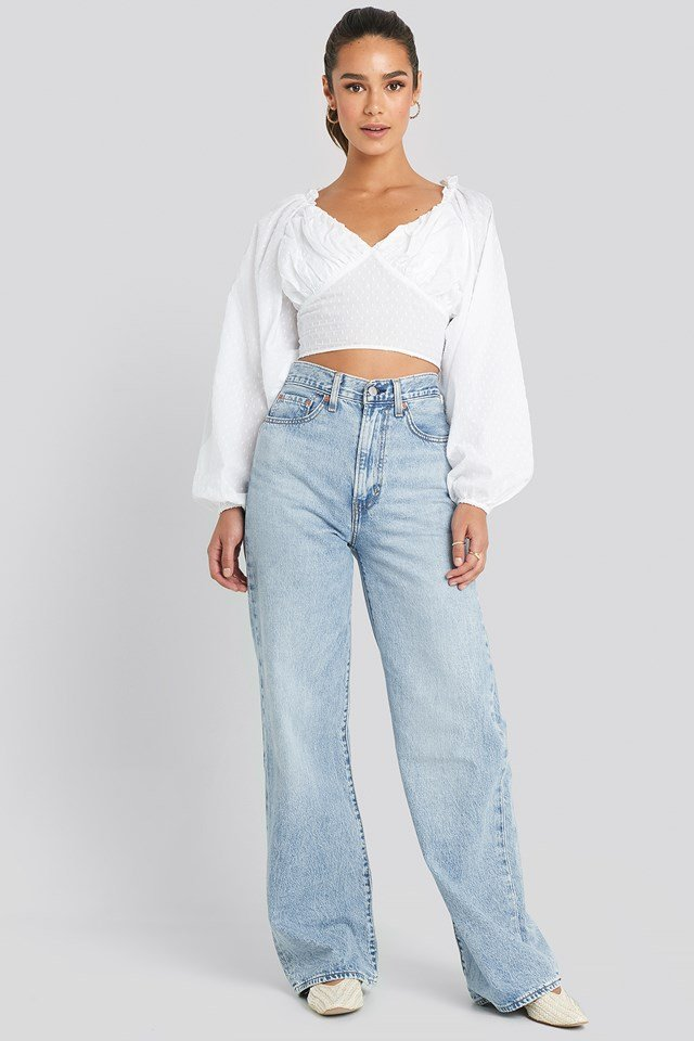 Cropped Cotton Dobby Top White