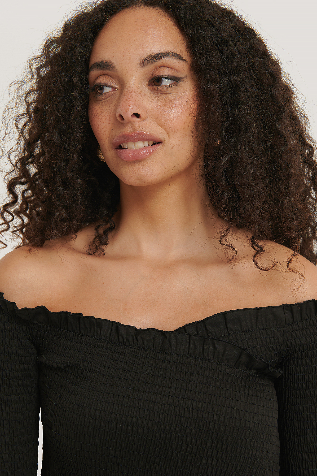 Black Cropped Crossover Smock Top