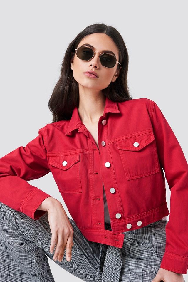 Cropped Denim Jacket Red