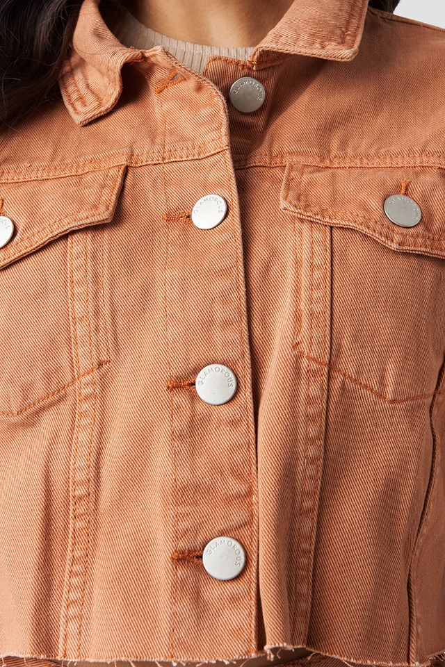 Cropped Denim Jacket Orange Rust