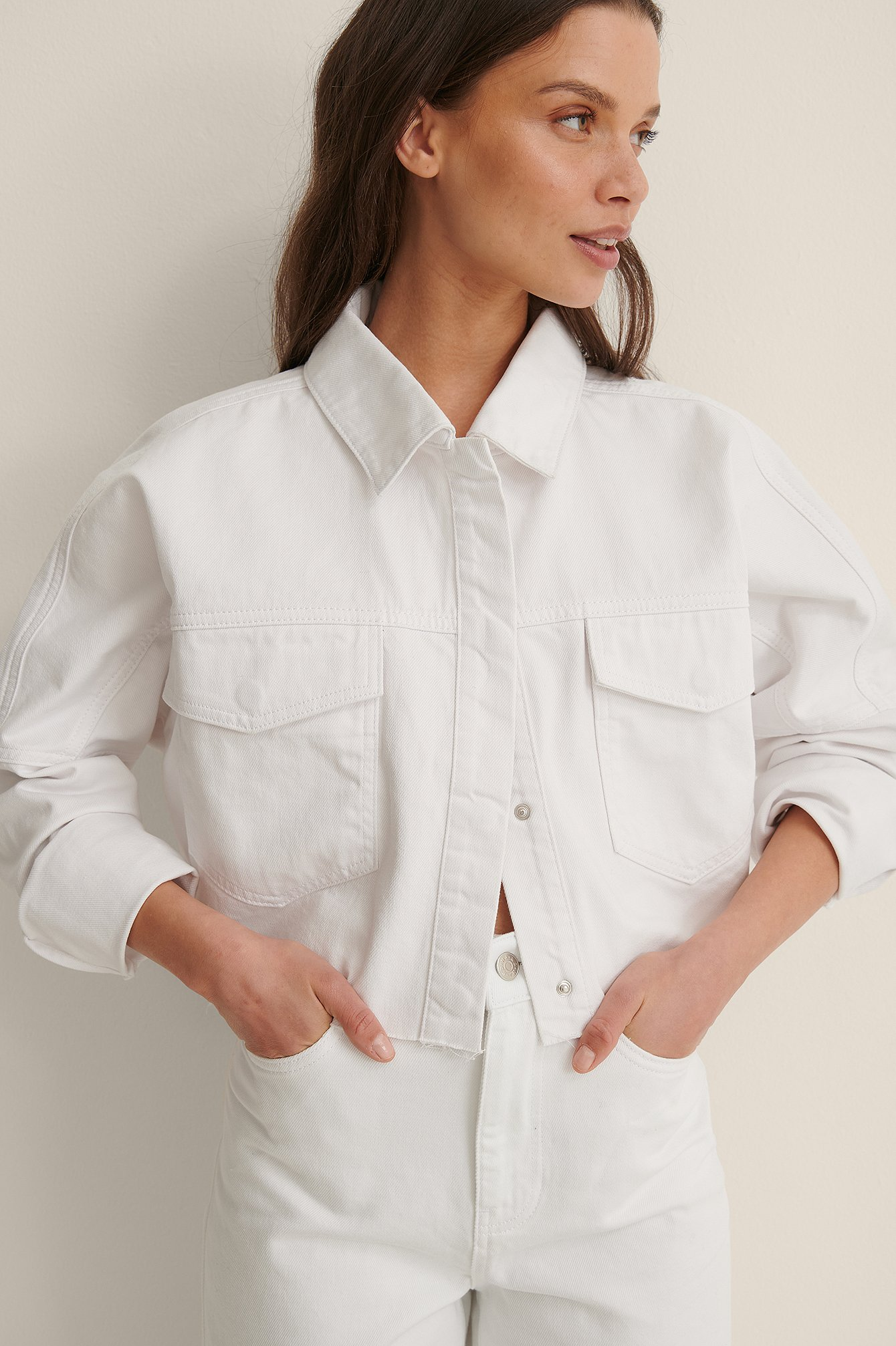 White Organic Cropped Denim Raw Hem Shirt