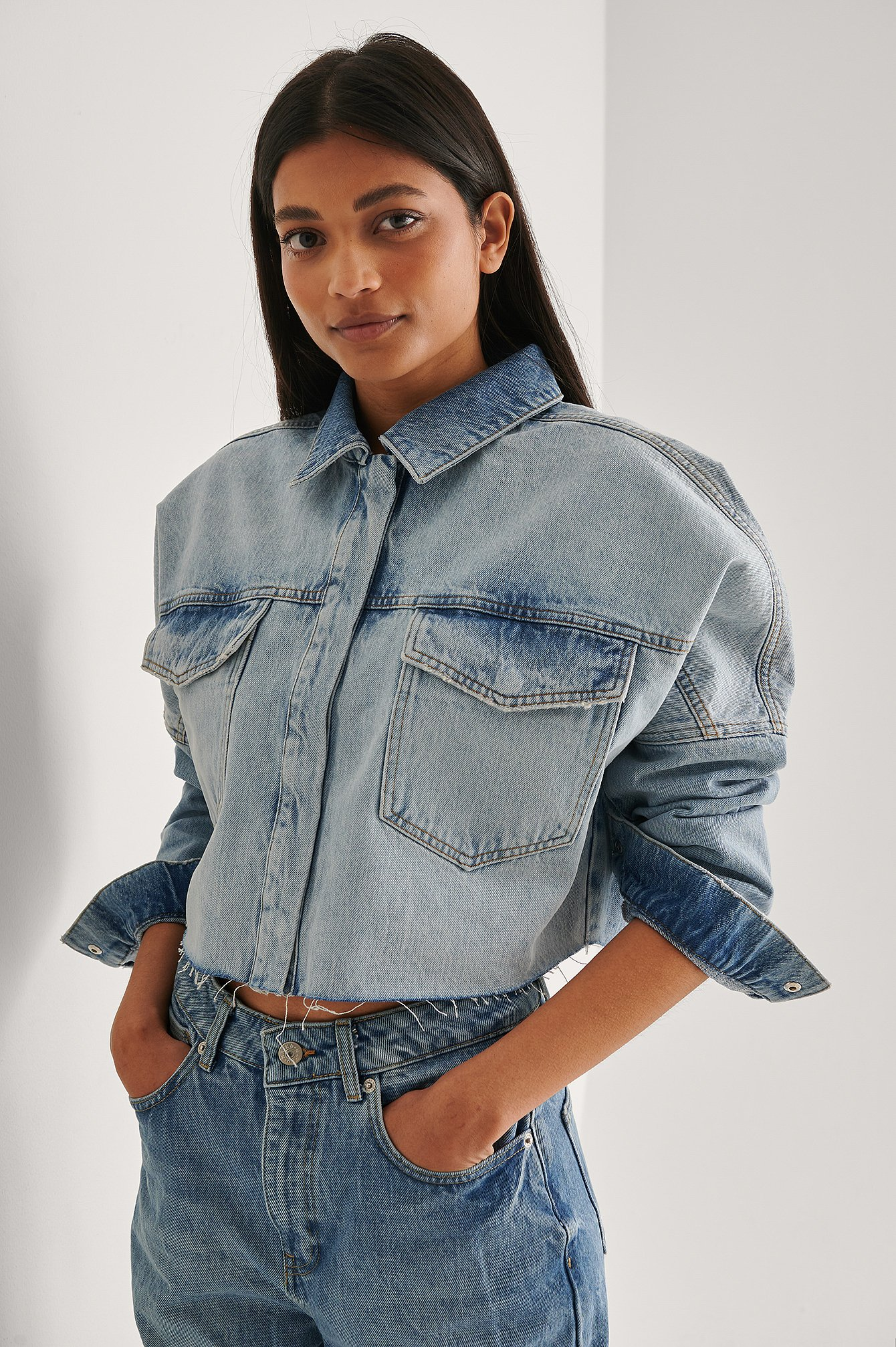 Light Blue Cropped Denim Raw Hem Shirt