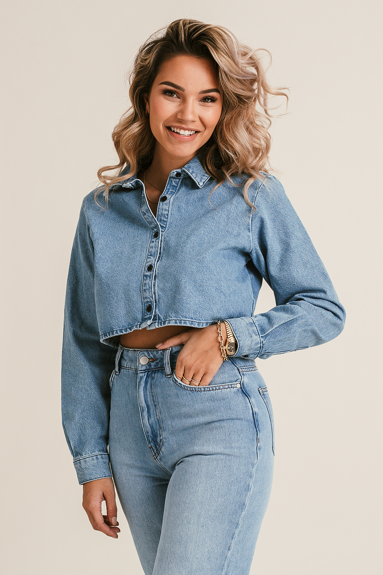 Cropped Jeansshirt