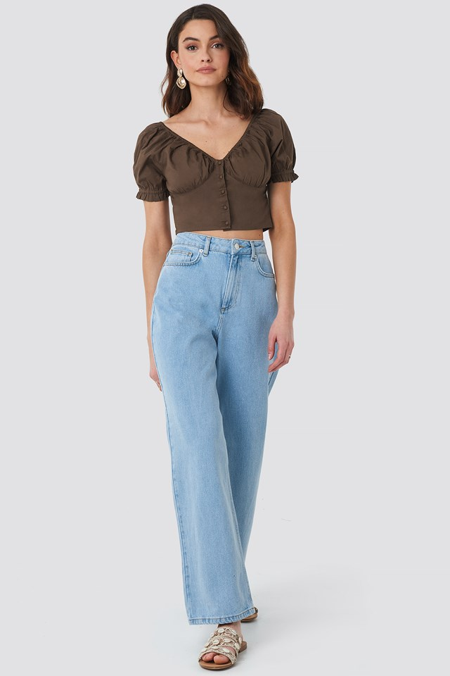 Cropped Fitted Button Top Brown