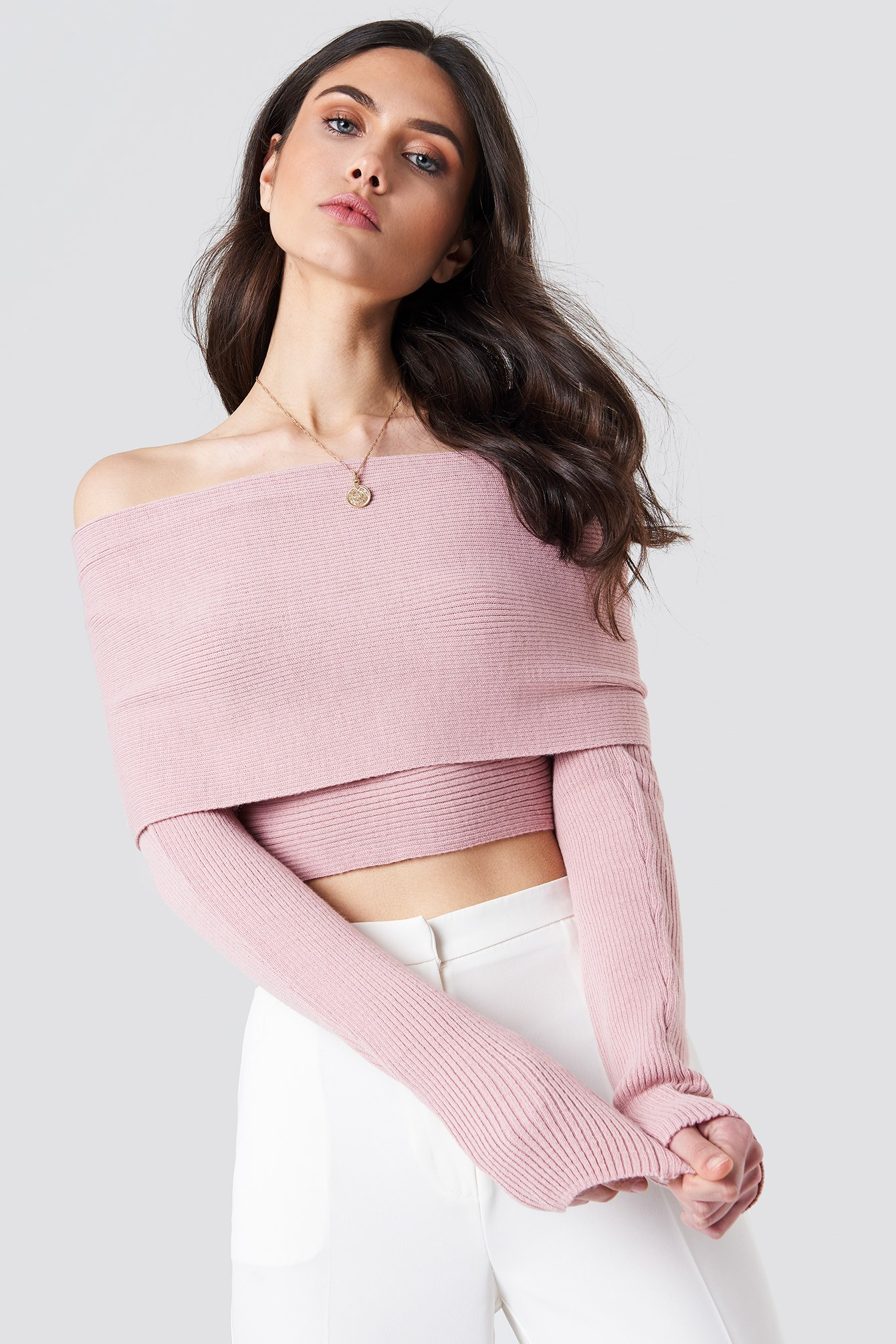 Cropped Folded Knitted Sweater NA-KD.COM