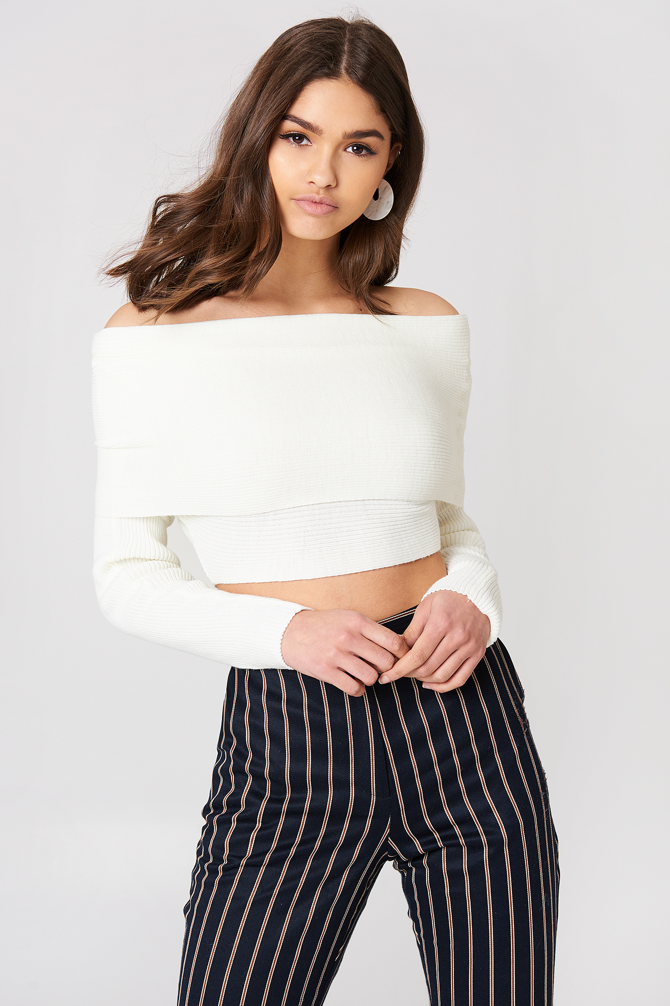 CROPPED FOLDED KNITTED SWEATER - WHITE, OFFWHITE