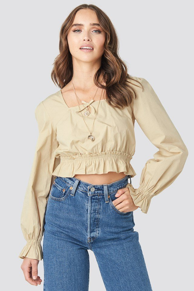 Cropped Frill Long Sleeve Top Beige