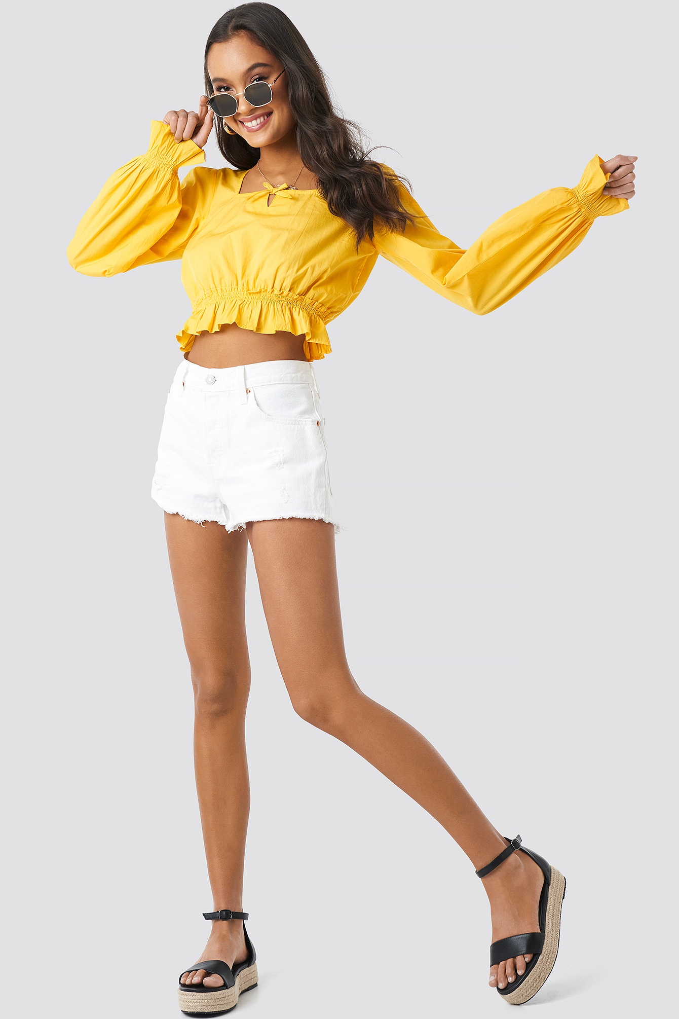 Cropped Frill Long Sleeve Top NA-KD.COM