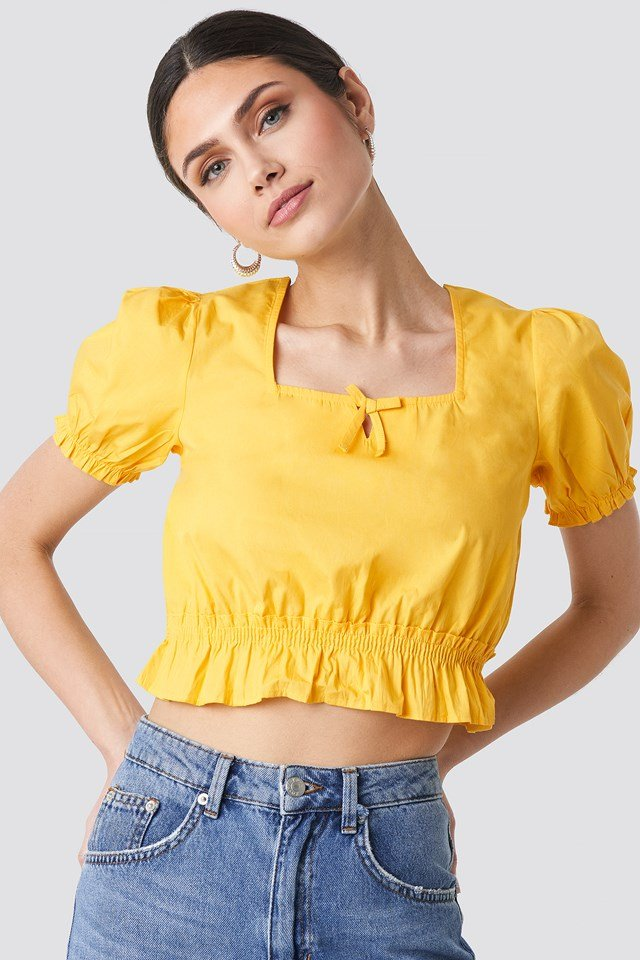 Cropped Frill Short Sleeve Top Yellow