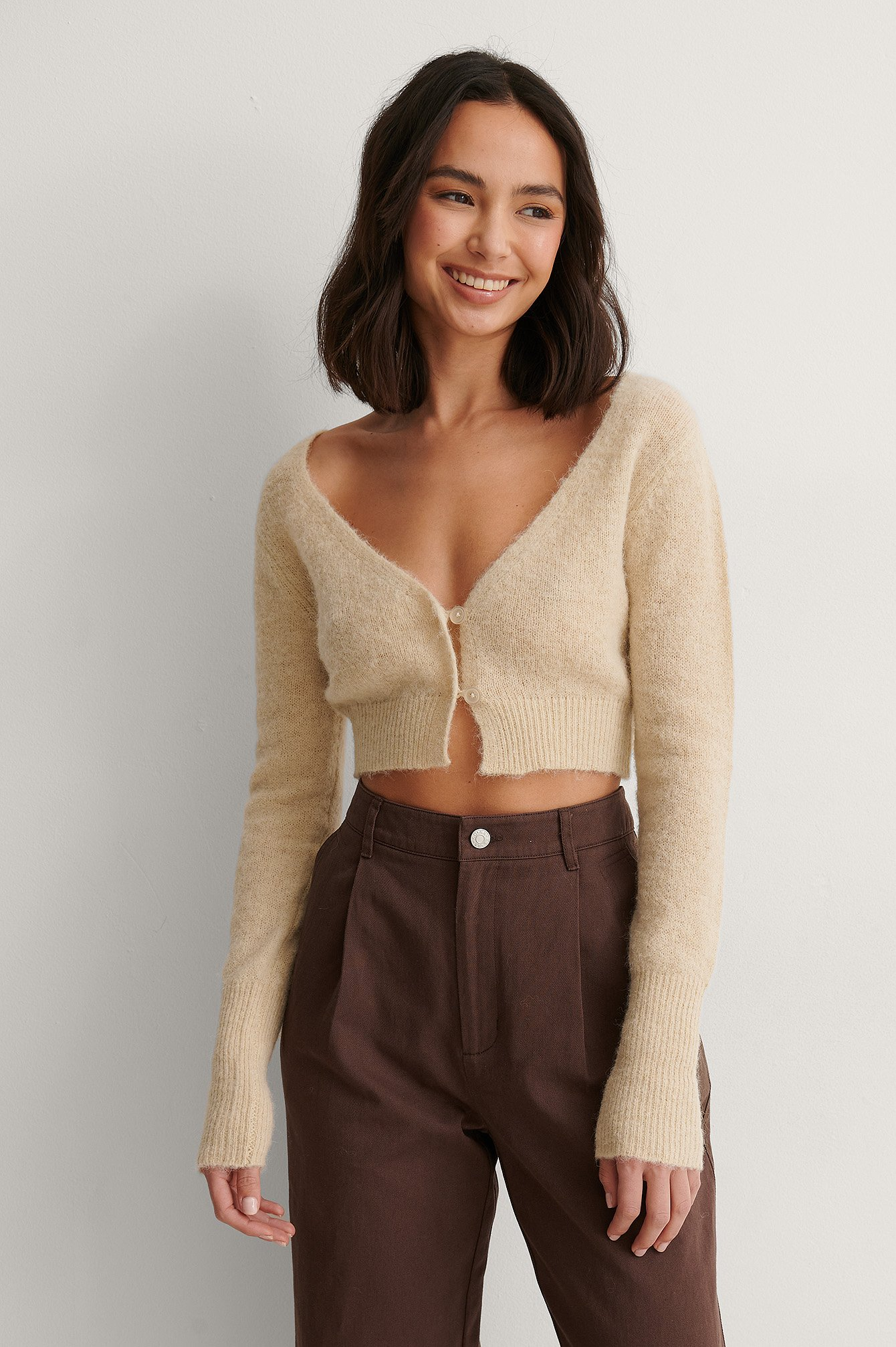 Light Beige Cropped Knitted Alpaca Blend Cardigan