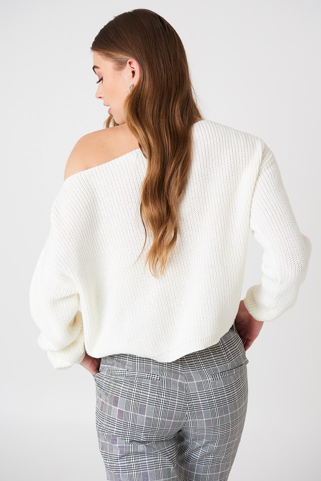 Cropped Knitted Sweater White