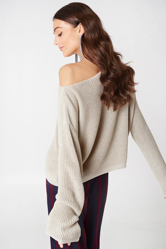 Cropped Knitted Sweater Beige