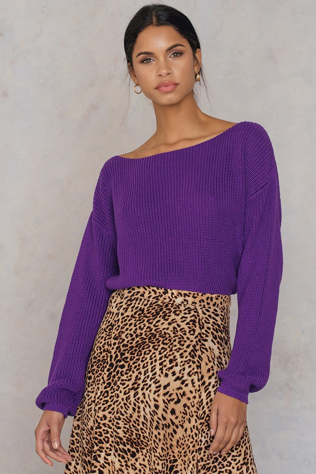 Cropped Knitted Sweater Purple