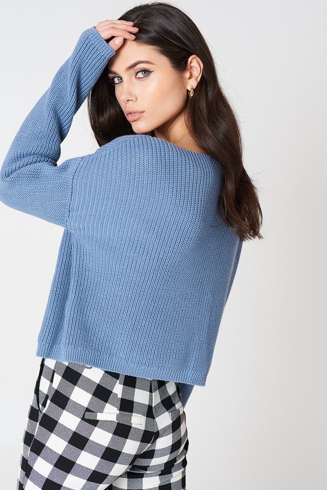Cropped Knitted Sweater Blue Stone